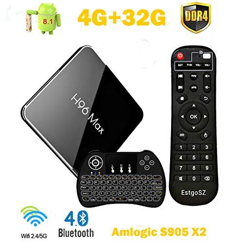 EstgoSZ H96 Max X2 4K Smart TV Box Android 8.1 4GB DDR4 Ram 32GB ROM Amlogic S905X2 CPU HDMI 2.1 H265 2.4G 5.0G Wifi100M LAN BL4.0 USB3.0 Full HD TV Box with Mini Wireless Backlit Keyboard