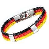 Flongo Bracelet Cuir Coup du Monde Drapeau Emblème National Allemand Allemagne Lien Poignet Alliage Noir Rouge Jaune Fantaisie pour Femme et Homme
