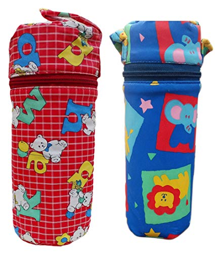 Tavish Portable Feeding Bottle Cover with Thermal Warmer and Holder (Multicolor1) - Combo of 2