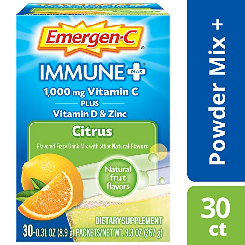 Emergen-C Immune+ 1000mg Vitamin C Powder, with Vitamin D, Zinc, Antioxidants and Electrolytes for Immunity, Immune Support Dietary Supplement, Citrus Flavor - 30 Count/1 Month Supply