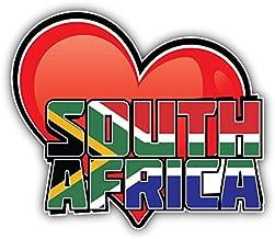 novland South Africa Art Heart Flag Travel Slogan Car Bumper Sticker Decal 5'' X 4''