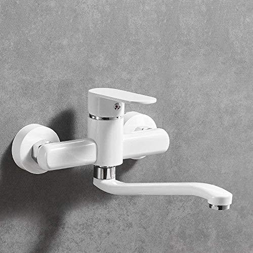 Grifo moderno para fregadero de cocina con brazo basculante, fregona, piscina, balcón, lavadero, piscina, doble agujero, grifos de calor frío en la pared, cobre blanco (tamaño: 28,5 cm) - 28,5 cm