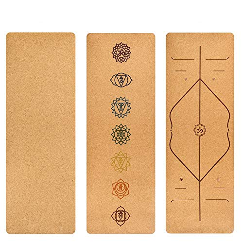 ziqing Cork Yoga Mat, Pilates, Natural Environmental Protection Material, Suitable for Various Yoga Sports, 5 Mm, PTE Material,Glossy