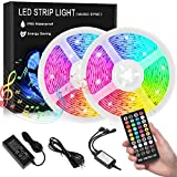Led Strip Lights, 32.8ft Ip65 Waterproof Led Light Strip with Music Sync, SMD 5050 Dimmable 16 Colors Light Strips with Controller for Home Lighting, Bedroom, Bar, Party (32.8ft)