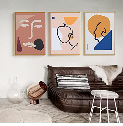 ZHJJD Arte de la Pared de la línea Rosa Abstracta, Cartel Bohemio, Cara Femenina, Cuadro en Lienzo, imágenes Impresas para la Sala de Estar nórdica, decoración del hogar, murales, 40x60cmx3 sin Marco