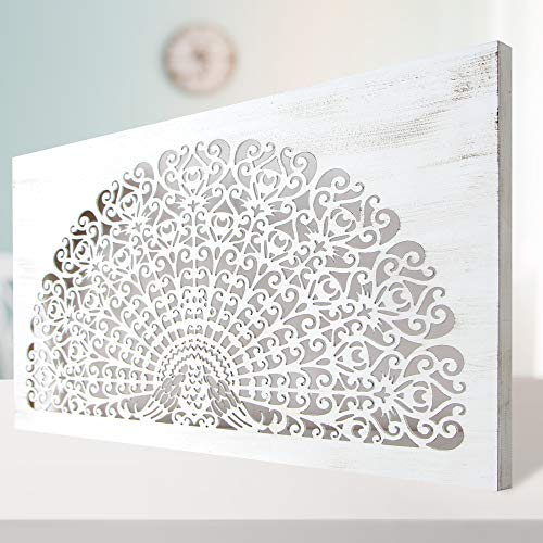 Cuadro Mandala de Pared Calada, Fabricado Artesanalmente en España, Decorado a Mano - Cuadro Decoración Modelo Mosaico 155- (80x150cm Blanco Envejecido) - para Salón, Dormitorio, Pasillo, Baño