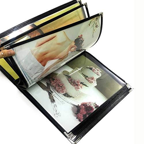 Bestandskasten Transparante losbladige groeiende archieven Fotoalbums A4 met 6 panelen en 12 vakken (imitatieleer+PVC+metaal), Voor Hotel School Office 32 * 25CM