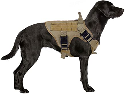 Rabbitgoo Tactical Dog Harness Large Service Dog Vest with Handle, Military Dog Safety Harness with MOLLE & Velcro Strips, No-Pull Adjustable Training Vest with METAL Buckles & Leash Clips for Outdoor Hiking