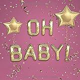 Oh Baby: Babyshower & Babyparty Gästebuch für ca. 35 Einträge - Mit Fragen und viel Platz für Glückwünsche, liebe Grüße, Fotos uvm. - Schönes ... - Design: Goldene Ballons auf Dunkelrosa