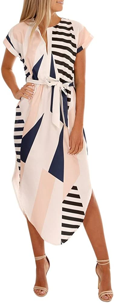 iDWZA Women Casual Short Sleeve V Neck Printed Maxi Dress with Belt