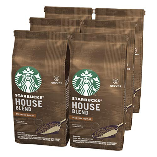 STARBUCKS House Blend Medium Roast Ground Coffee, 200 g (Pack of 6)