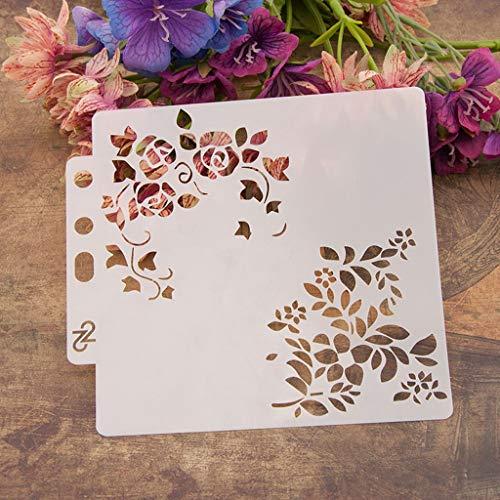 Haven Shop Plantillas de bricolaje, plantillas de flores, plantilla de pintura, álbumes de recortes, estampado, tarjeta de álbum