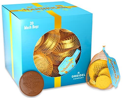 Original Hanukkah Chocolate Gelt Gold Coins, 20 Mesh Bag, Made with Premiun Belgian Milk Chocolate, Gluten Free, Non GMO, Kosher Certified