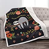 Jekeno Sloth Sherpa Blanket Comfort Warm Print Fleece Throw Blanket for Sofa Chair Bed Office Travelling Camping Gift 50'x60'