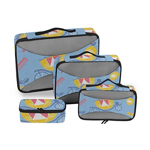 Patterns 4pcs Large Travel Toiletry Bag for Women Big Wash Bags Hair Dryer Case Multi-Use Toiletries Kit Cosmetics Makeup Bathroom Organizer Suitcase Luggage