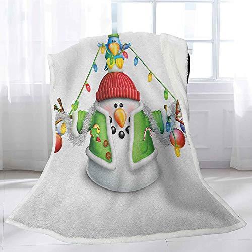 Interestlee Snowman Farmhouse Throw Blanket 60' x 80', Cartoon Whimsical Character with Christmas Garland Blue Bird Various Xmas Elements Custom Blanket - Multicolor