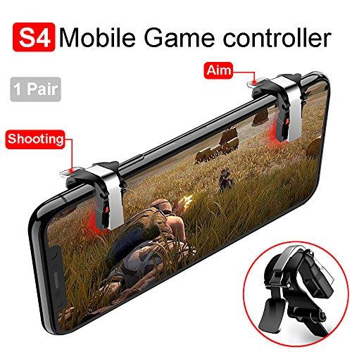 4U S4 Mobile Game Controller, Handy Game Controller Sensitive Schießen und Zielen Tasten L1R1 Trigger Tasten für PUBG/Fortnite/Regeln des überlebens Unterstützen Android und iOS (1 Paar,Schwarz)