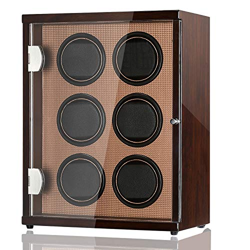CHIYODA Automatic Watch Winder for 6 Watches, 6 Quiet Mabuchi Motors, LCD Display & Control Screen