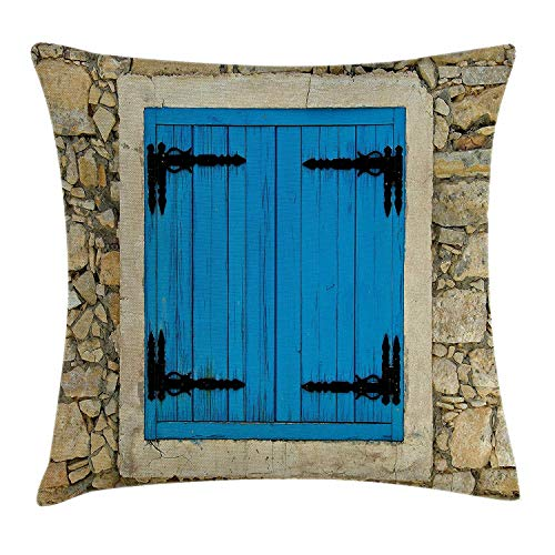 dingjiakemao Country Throw Kussensloop, Vintage Style Stone House and Antique Old Shutters in European Village Image, Decoratieve Square Accent Pillow Case, 18 x 18 inches, Turquoise Cream