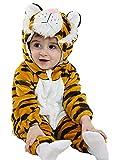MOMBEBE COSLAND Mono Bebé Niño Tigre Manga Larga con Capucha Franela (Tigre, 3-6 Meses)