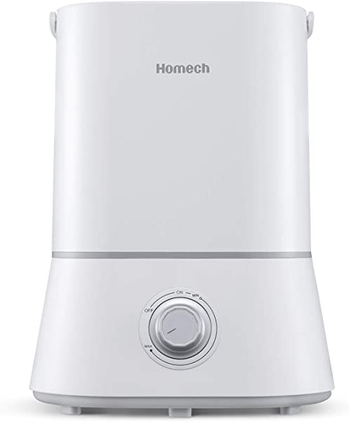 Homech Cool Mist Humidifier Quiet Ultrasonic Humidifier For Bedroom Home Baby 12 60 Hours Easy To Clean 360 Nozzle Waterless Auto Shut Off 4L 1 06 Gallon US 110V