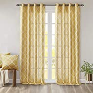 Madison Park Saratoga Window Curtain Light Filtering Fretwork Print 1 Panel Grommet Top Drapes/Valance for Living Room Bedroom and Dorm, 50x95, Yellow