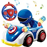 NQD Remote Control Car for Toddlers RC Cartoon Race Car with Music and Lights 2.4GHz Radio Control RC Toy Car for Kids Blue …