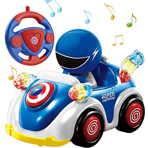 NQD Remote Control Car for Toddlers RC Cartoon Race Car with Music and Lights 2.4GHz Radio Control RC Toy Car for Kids Blue