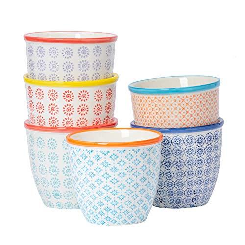 Nicola Spring 6 Piece Hand-Printed Plant Pot Set - Porcelain Indoor Outdoor Flower Pots - 6 Colours - 14 x 12.5cm