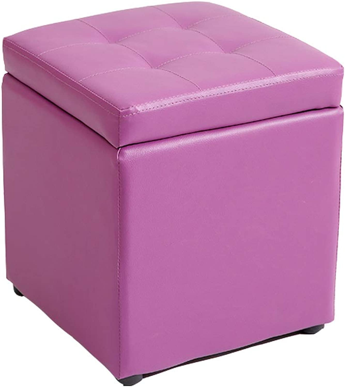 Storage Stool Multi-Function Can Sit PU Leather Storage Stool Non-Slip Foot Storage Square Stool Change shoes Stool Low Stool 30  30  35CM (color   D)