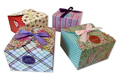 ewtshop® Geschenkboxen, 12 Stück in Vier, Cookie Boxen, Dekoboxen, Flower Boxen, Geschenkschachteln