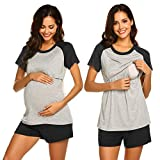 MAXMODA 3 in1 Geburtspyjama Stillnachthemd kurz Zweiteilige Nachtwäsche Sommer Nachthemd Sleepwear zu Hause, schwarz, XL