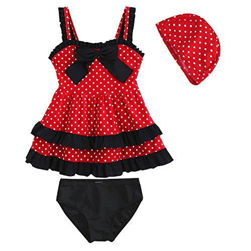 Kid Toddler Baby Girls Bathing Suit Lace Bow Dot Two Piece Swimsuit Swimwear 3 Red