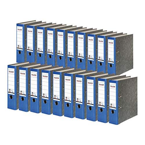 Original Falken 20er Pack Recycling-Ordner Wolkenmarmor. Made in Germany. 8 cm breit DIN A4 blauer Rücken Ringordner Aktenordner Briefordner Büroordner Pappordner CO2-Neutral Blauer Engel