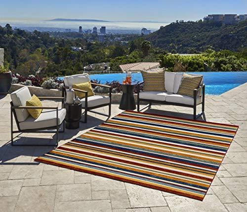 Gertmenian 22238 Indoor Outdoor Rug Textured Outside Patio Textural Carpet, 6x9 Medium, Stripes Rainbow Orange Red