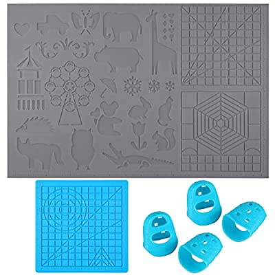 2 Pieces 3D Printing Pen Mats 2 Styles Multi-Shaped Silicone 3D Drawing Template Large Silicone Design Pad 3D Pen Drawing Tools and 2 Silicone Finger Caps