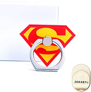 ZOEAST(TM) Phone Ring Grip Marvel Super Hero Universal 360° Adjustable Holder Car Hook Stand Stent Mount Kickstand Compatible All iPhones Samsung Android Pad Tablet (Superman)