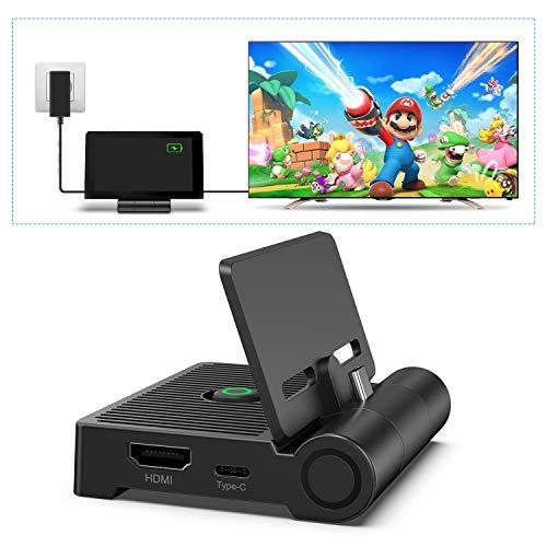 Switch Dock para NS Switch, innoAura Base de Conexión de TV Plegable para Switch, Base de Carga Portátil con Puerto HDMI, Puerto de Entrada USB C y Puerto USB 3.0, Reemplazo para NS Switch Dock