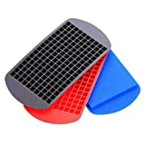 Hinxin 3Pack160 Grid mini Ice cube Trays - Flexible Stackable Mini Whiskey Juice Salad Ice Cube Mold, Kitchen Bar Party Drink Chocolate Mold (Red + Blue + Black)...