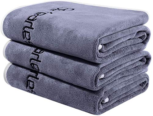 Bobor Gym Towel Set, Microfiber Sports Towel for Men and Women, Super Soft and Quick-Drying 3-Pack Set Towel, for Tennis, Yoga, Cycling, Swimming (Dark Gray 3 Pack, 3-Pack Set Towels)