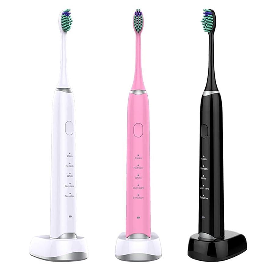 3ピースインテリジェント誘導ワイヤレス充電超音波、全身防水電動歯ブラシ、大人の電動歯ブラシ,A