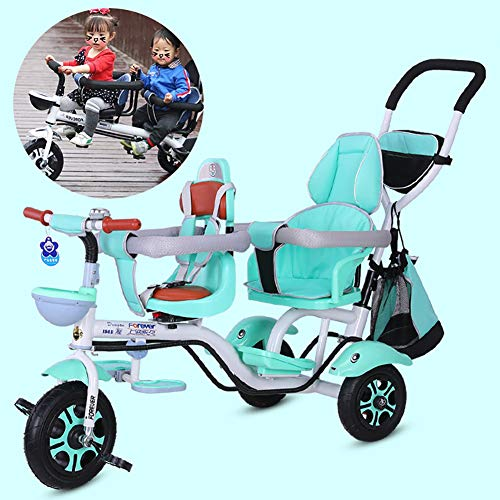 FLy Triciclo De 3 Ruedas para Niños Dobles Triciclo Gemelos Asiento Doble con Cesta Toldo Extraíble, con Asa De Empuje Desmontable para Regalo De Cumpleaños para Niños De 1 A 6 Años,Verde