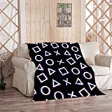 White 4 Pattern Blanket,Plush and Warm Home Soft Cozy Light Weight Fuzzy Throw Blankets for Couch Bed Sofa,White 4 Cross Triangle Circle Game Play Station Symbols Icons Playstation 5,50'x60'