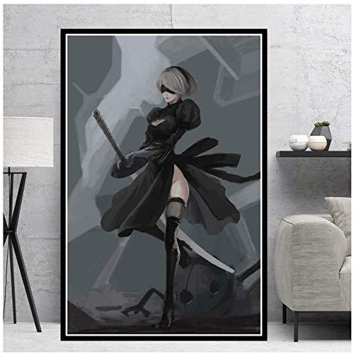Pintura de lienzo mural Nier Automata Fight Game Girl Japan Anime Posters e impresiones Cuadros de pared para la decoración de la sala de estar Decoración del hogar-60X80Cmx1 Sin marco