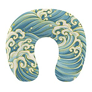 Almohada de moda para el cuello para viajes en avión, oficina en casa, cómoda almohada para dormir en forma de U con soporte para el cuello y funda extraíble y lavable, japonés The Great Ocean Wave Bl