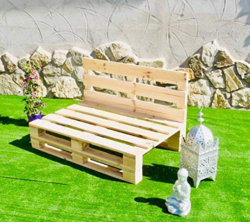 Sofa PALETS Lijado Y Cepillado - Medida 120cm X 80cm -Interior/Exterior Nuevo-Natural Sillon PALETS/Sofa para Patio