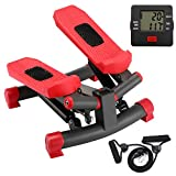 KYY Indoor Fitness Stair Stepper Aerobic Trainer Twist Stair Stepper with Resistance Bands for Beginners and Professionals (Red)