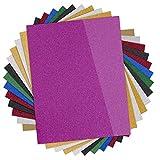 Glitter Heat Transfer Vinyl HTV - 13 Pack 12'x10' Iron On Vinyl for Cricut & Silhouette Cameo (Teflon Sheet Included), 9 Assorted Colors HTV Glitter Bundle of Heat Press Vinyl, Easy to Cut & Press