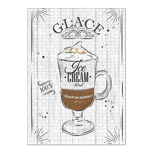 artboxONE Ravensburger-Puzzle XL (1000 Teile) Typografie Cafe Glace - Puzzle EIS Cafe Glace Kaffee