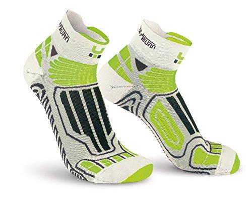 Oxyburn Running Half-Cut Dry-Tech Carbon S Chaussettes Homme, Blanc/Vert Citron, Size 35/38